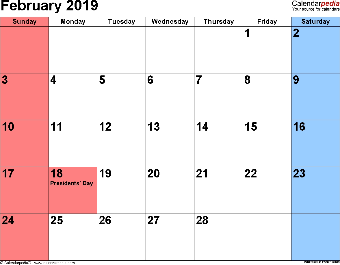 2019 February Month Calendar | Monthly Calendar Templates | 2019 Calendar 2019 February