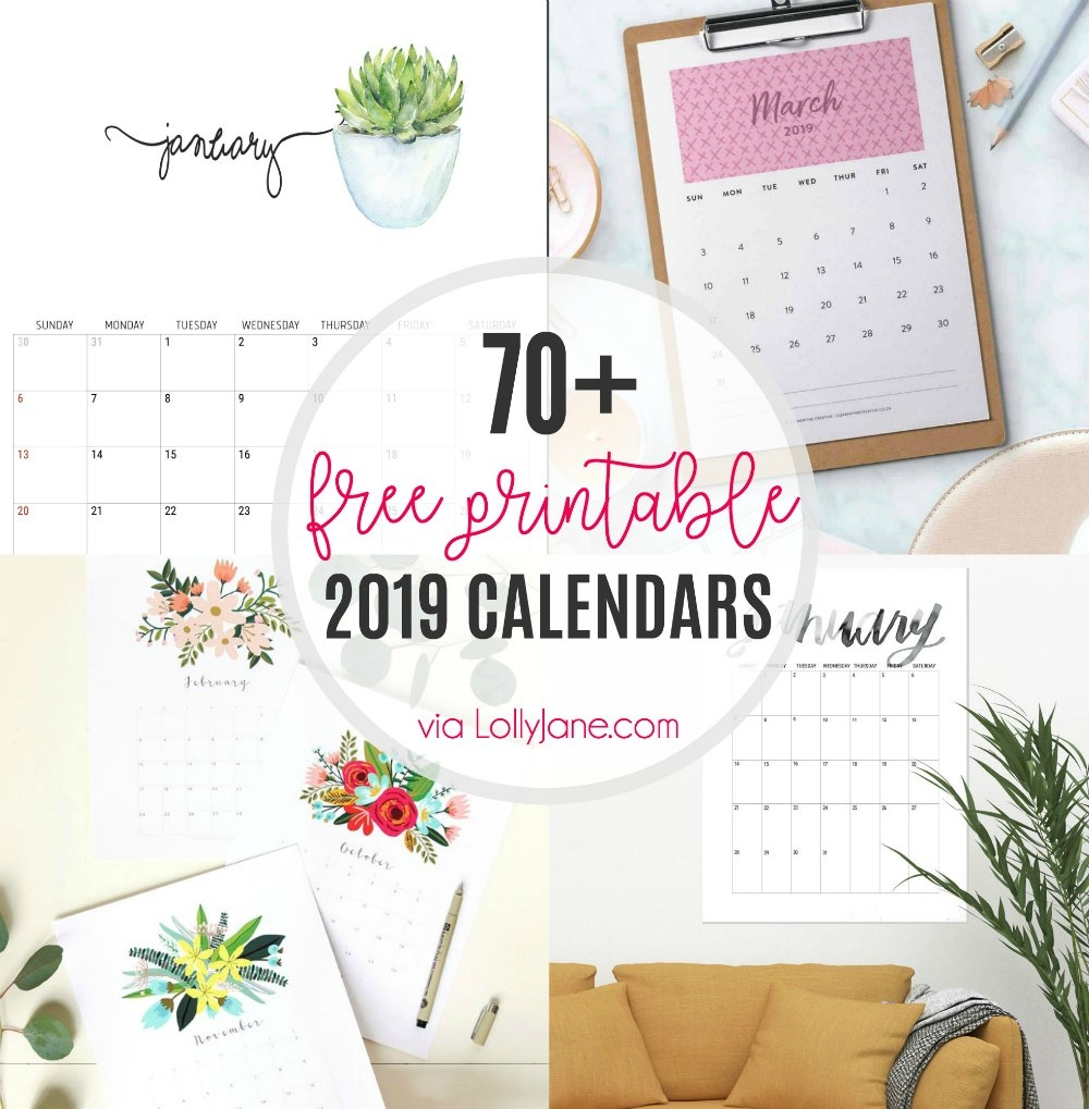2019 Free Printable Calendars - Lolly Jane $1 Calendar 2019
