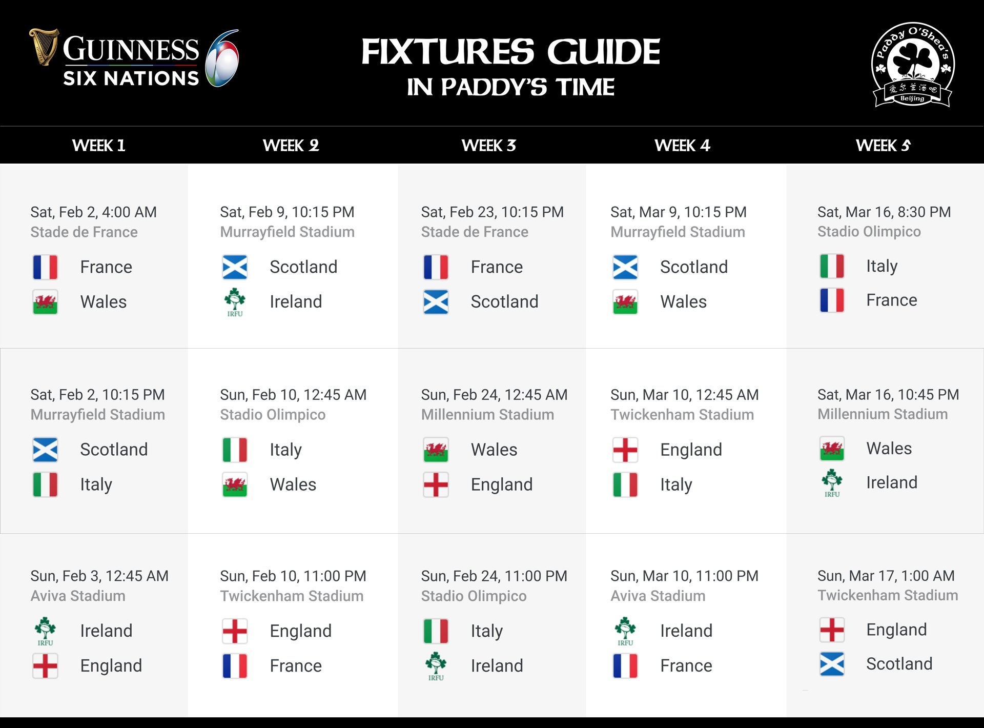 2019 Guinness 6 Nations – Fixtures Guide – Paddy O'shea's 6 Nations Calendar 2019