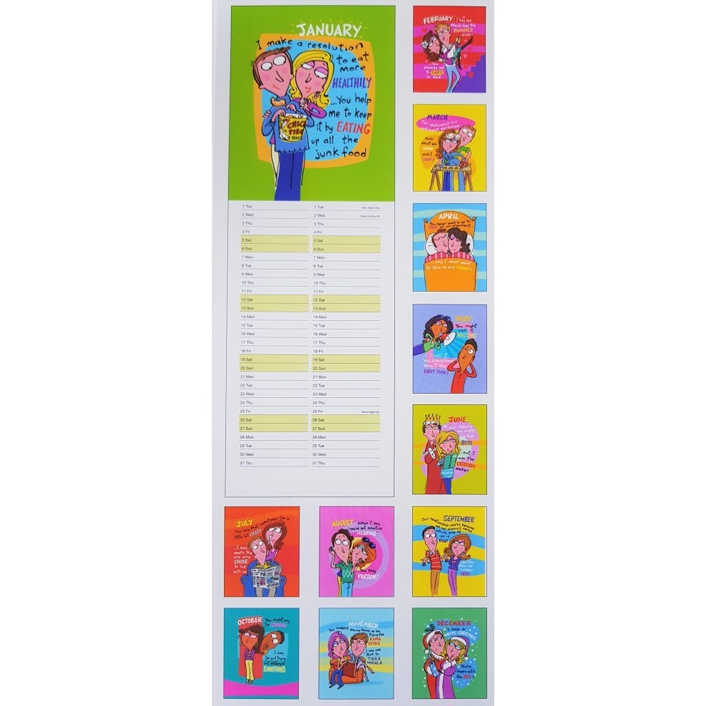 2019 His N Hers Wall Slim Calendar Battle Of The Sexes Fun Jokes His N Hers Calendar 2019