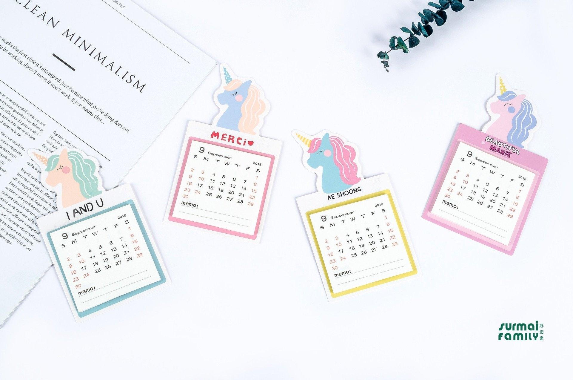 2019 Kawaii Unicorn Desktop Paper Calendar Magnet Wall Daily Calendar 2019 Magnet