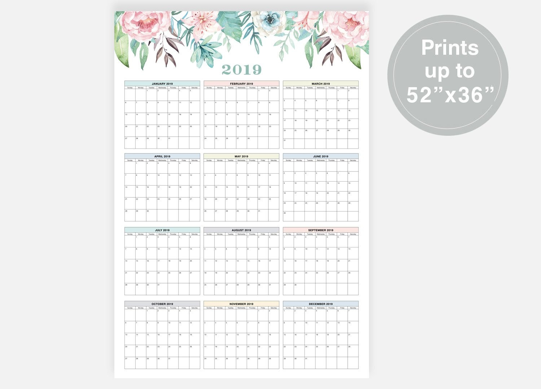 2019 Large Wall Calendar 2019 Calendar At A Glance | Etsy Calendar 2019 Digital