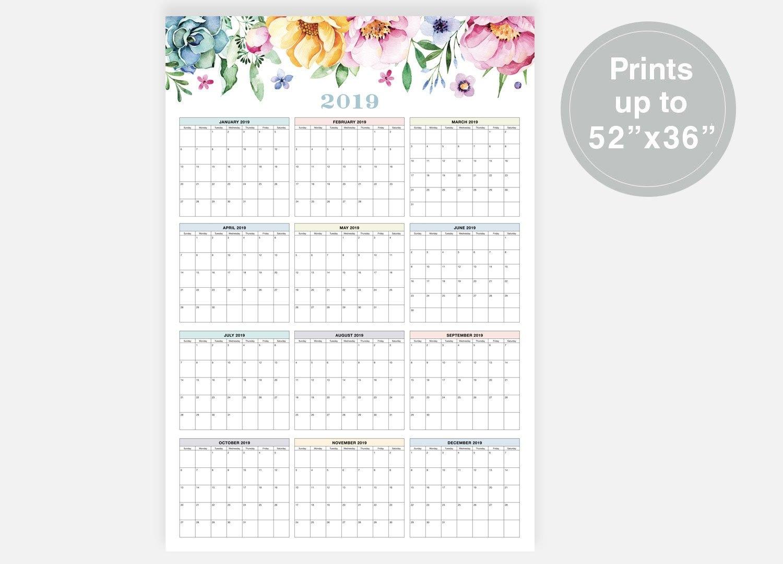 2019 Large Wall Calendar 2019 Calendar Floral Calendar | Etsy Calendar 2019 Digital