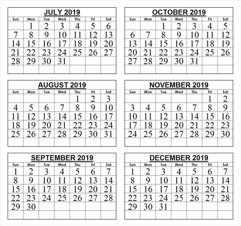 2019 Last 6 Months Calendar | 2019 Calendars | Pinterest | Calendar July 6 2019 Calendar