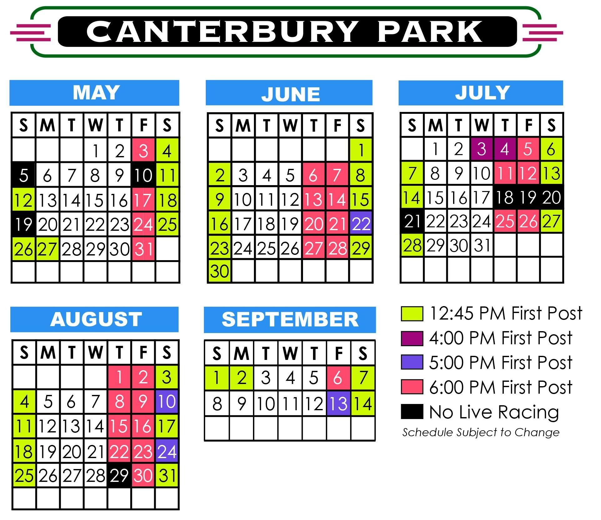 2019 Live Racing Season | Promotions | Canterbury Park 445 Calendar 2019