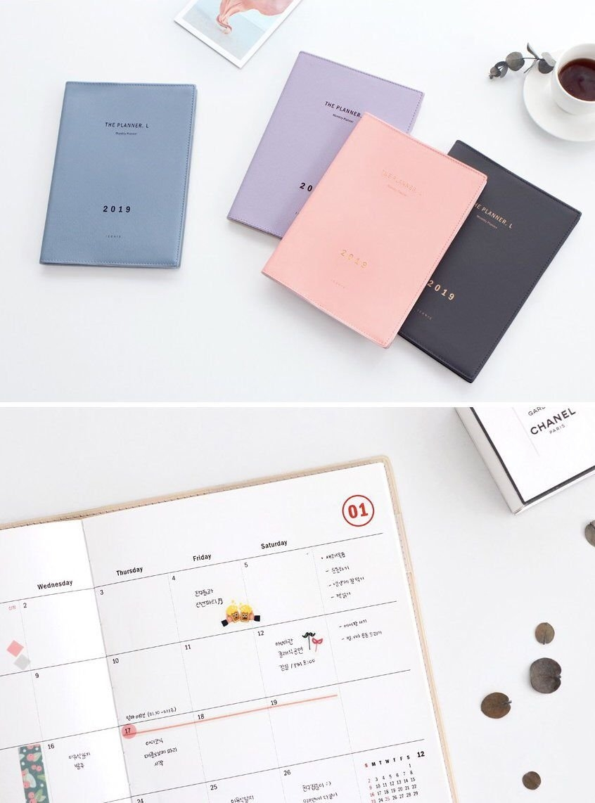 2019 Monthly Planner L [4Colors] / Grid Notebook / Monthly Planner Calendar 2019 Notebook