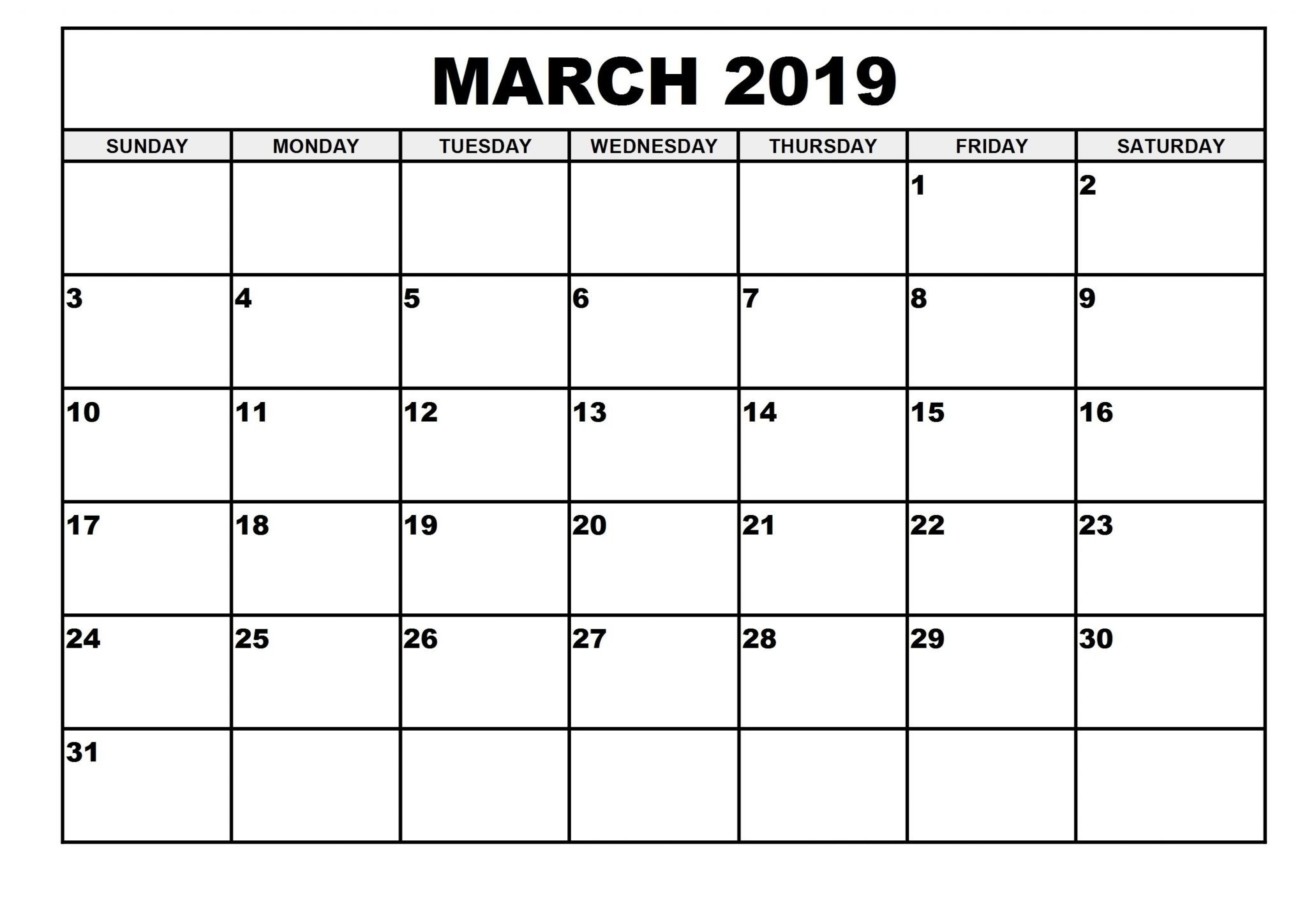 2019 Monthly Printable March 2019 Calendar – Printable Calendar 2019 March 1 2019 Calendar