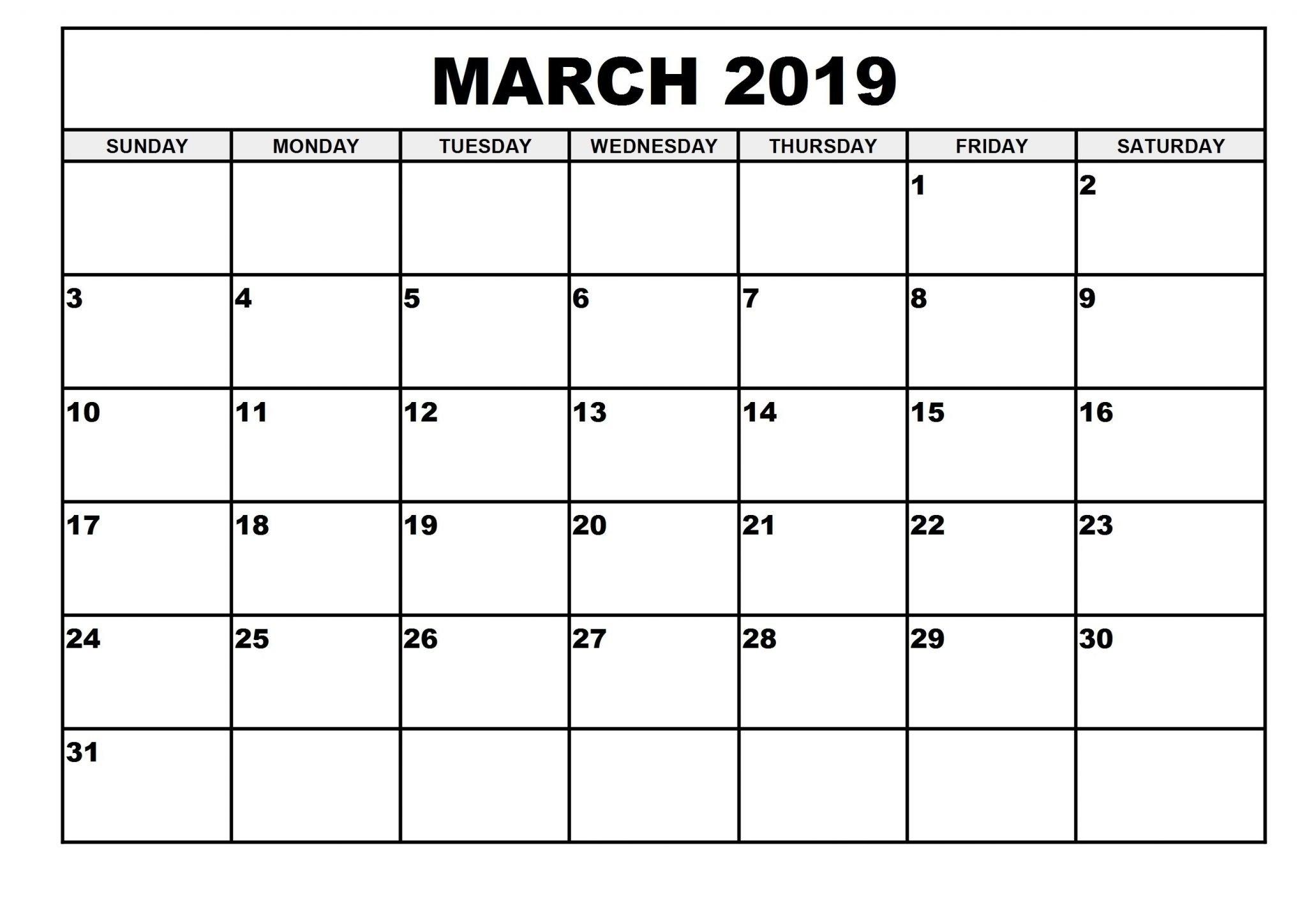 2019 Monthly Printable March 2019 Calendar - Printable Calendar 2019 March 1 2019 Calendar