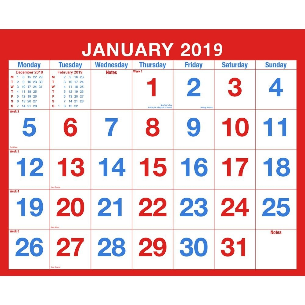 2019 Monthly Wall Calendar, Spiral Bound | Staples® Calendar 2019 Staples