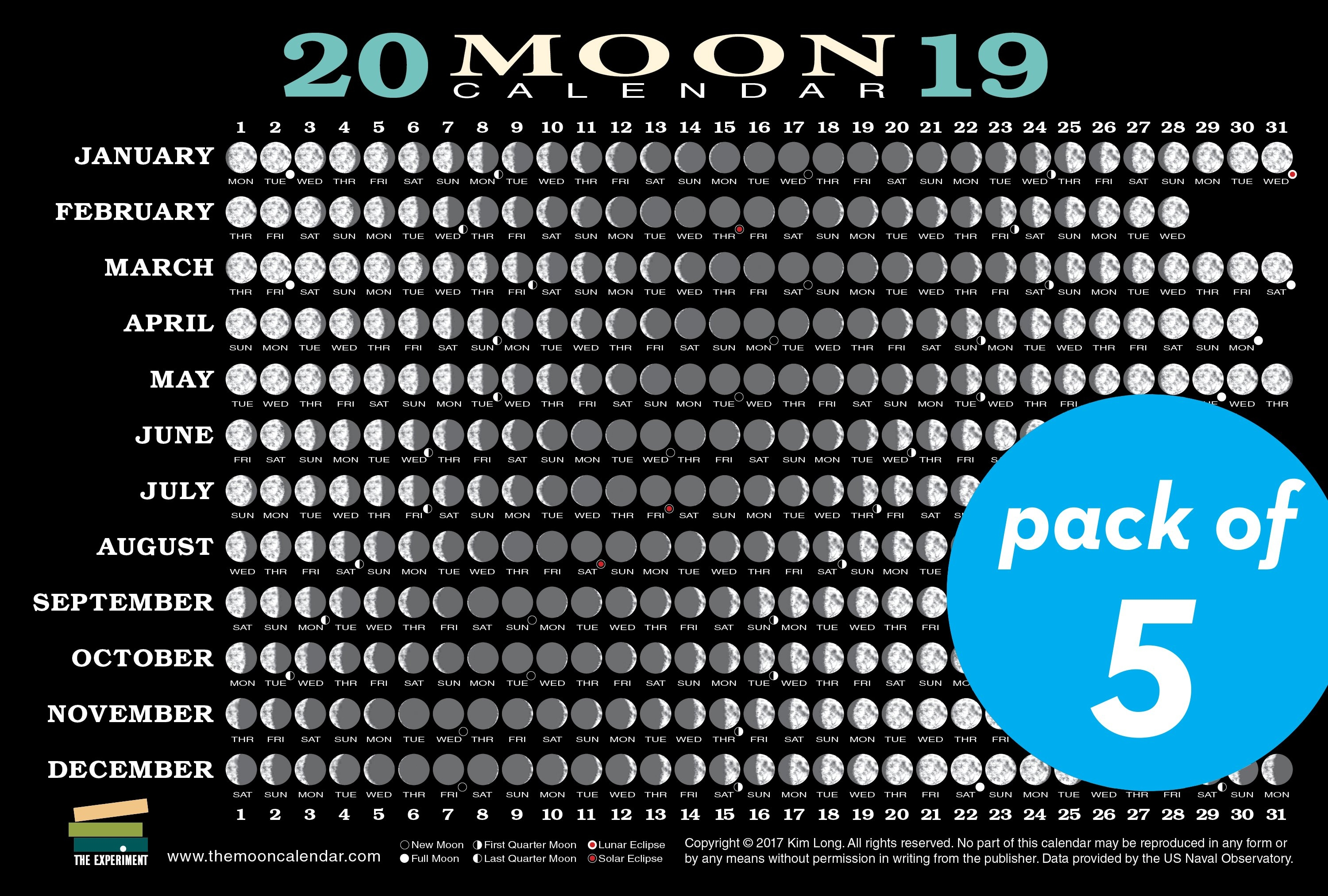 2019 Moon Calendar Card (5 Pack). Nataraj Books Calendar 2019 Moon