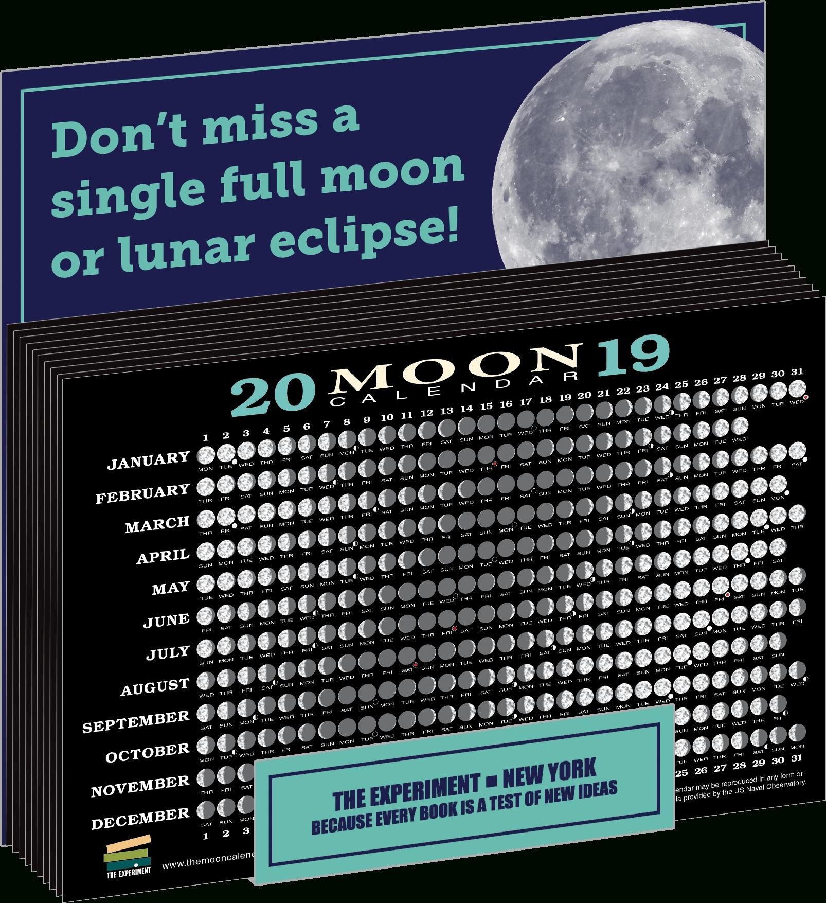 2019 Moon Calendar Card | The Experiment Calendar 2019 Full Moon