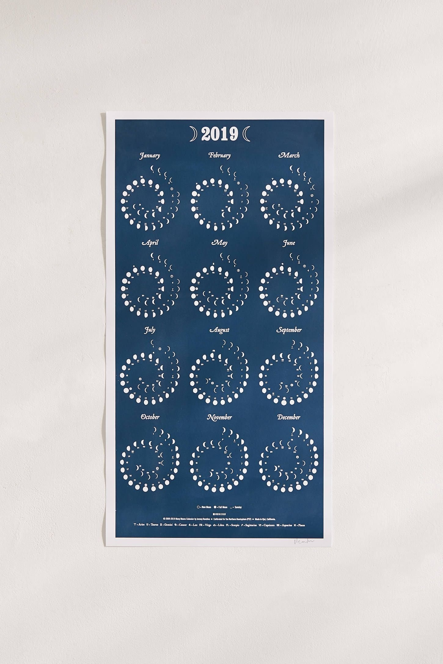 2019 Moon Phase Large 12-Month Wall Calendar | Yes Please Calendar 2019 Urban Outfitters