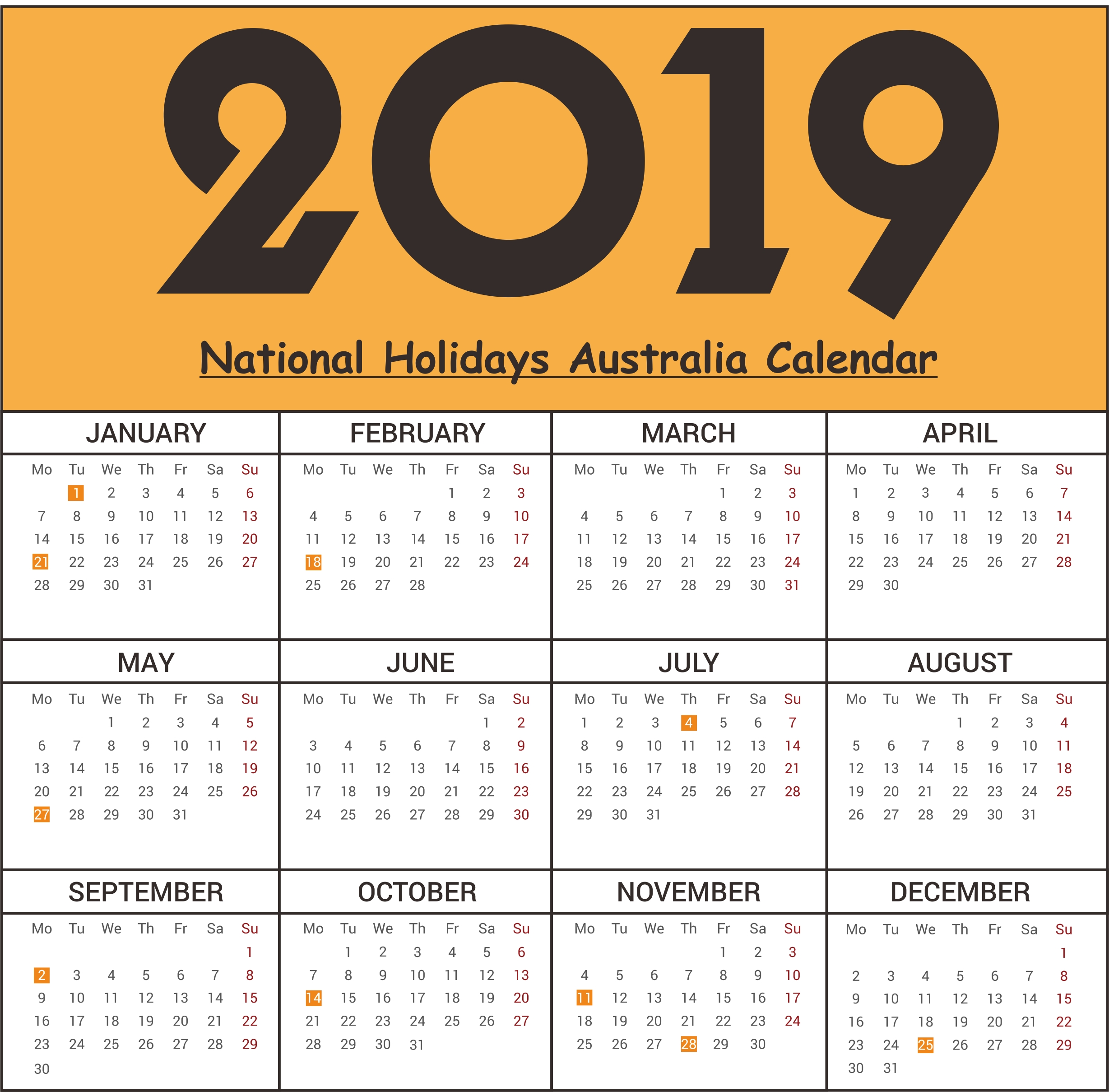 2019 National Holidays Australia Calendar #2019Calendar Calendar 2019 National Holidays