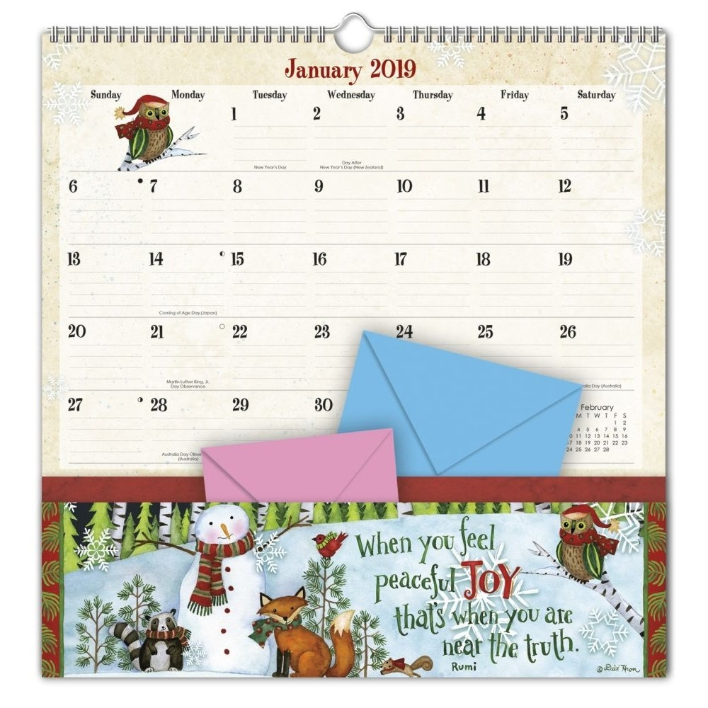 2019 Note Nook™, Simple Inspirations - Walmart Calendar 2019 With Pockets