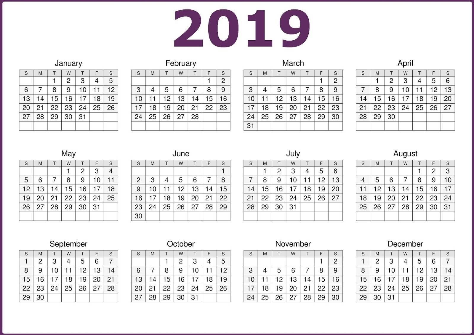2019 One Page 12 Months Calendar | 2019 Calendars | Pinterest Calendar 2019 In One Page