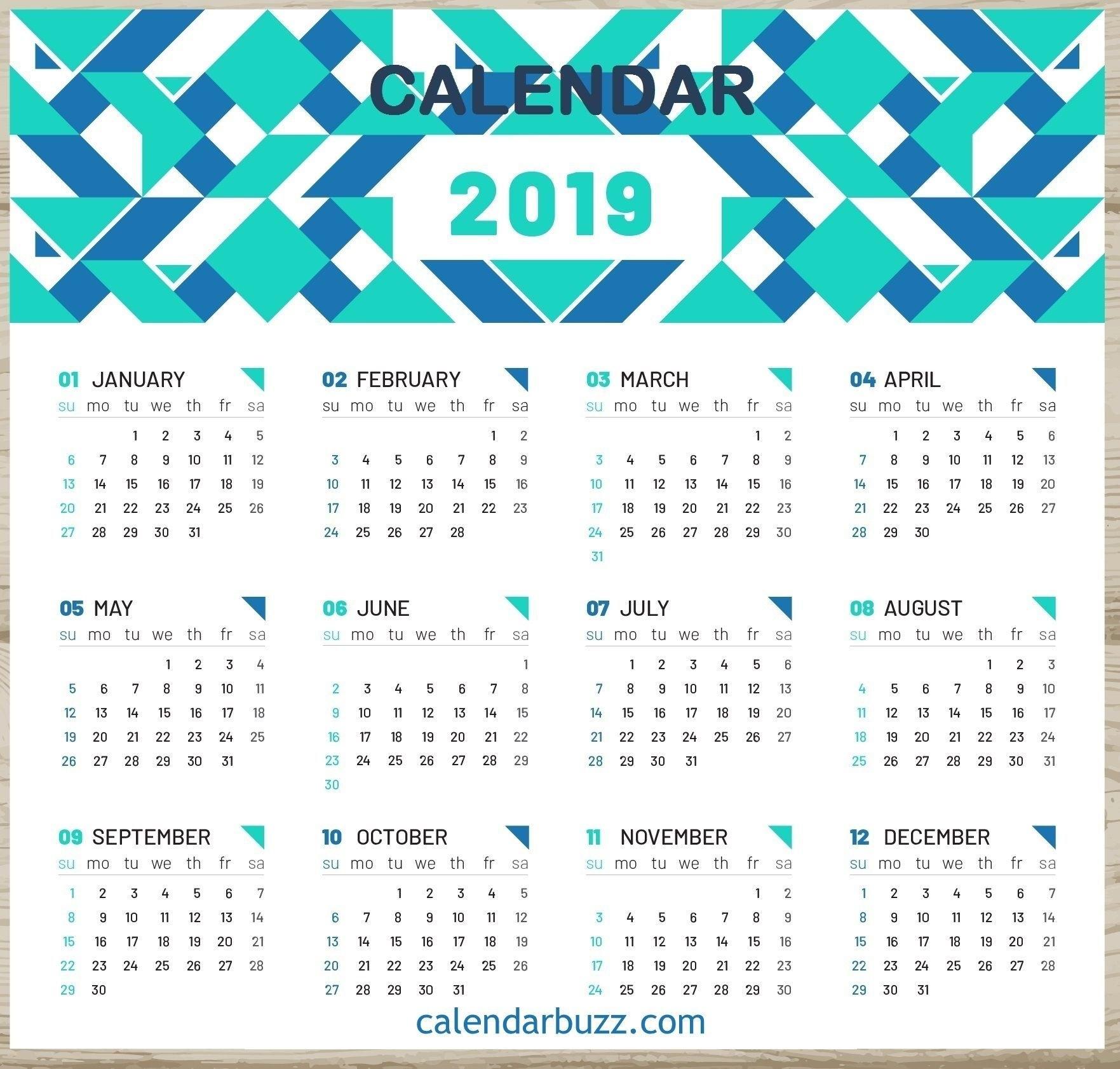 2019 One Page Desk Calendar | 2019 Calendars | Calendar, 2019 Discover 5 Calendar 2019