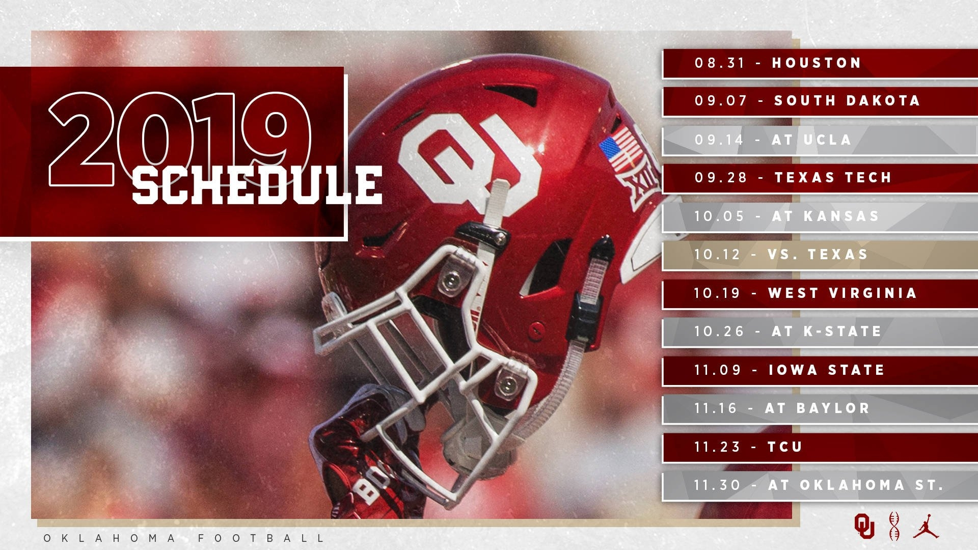2019 Ou Football Schedule Announced - The Official Site Of Oklahoma U Of H Calendar 2019