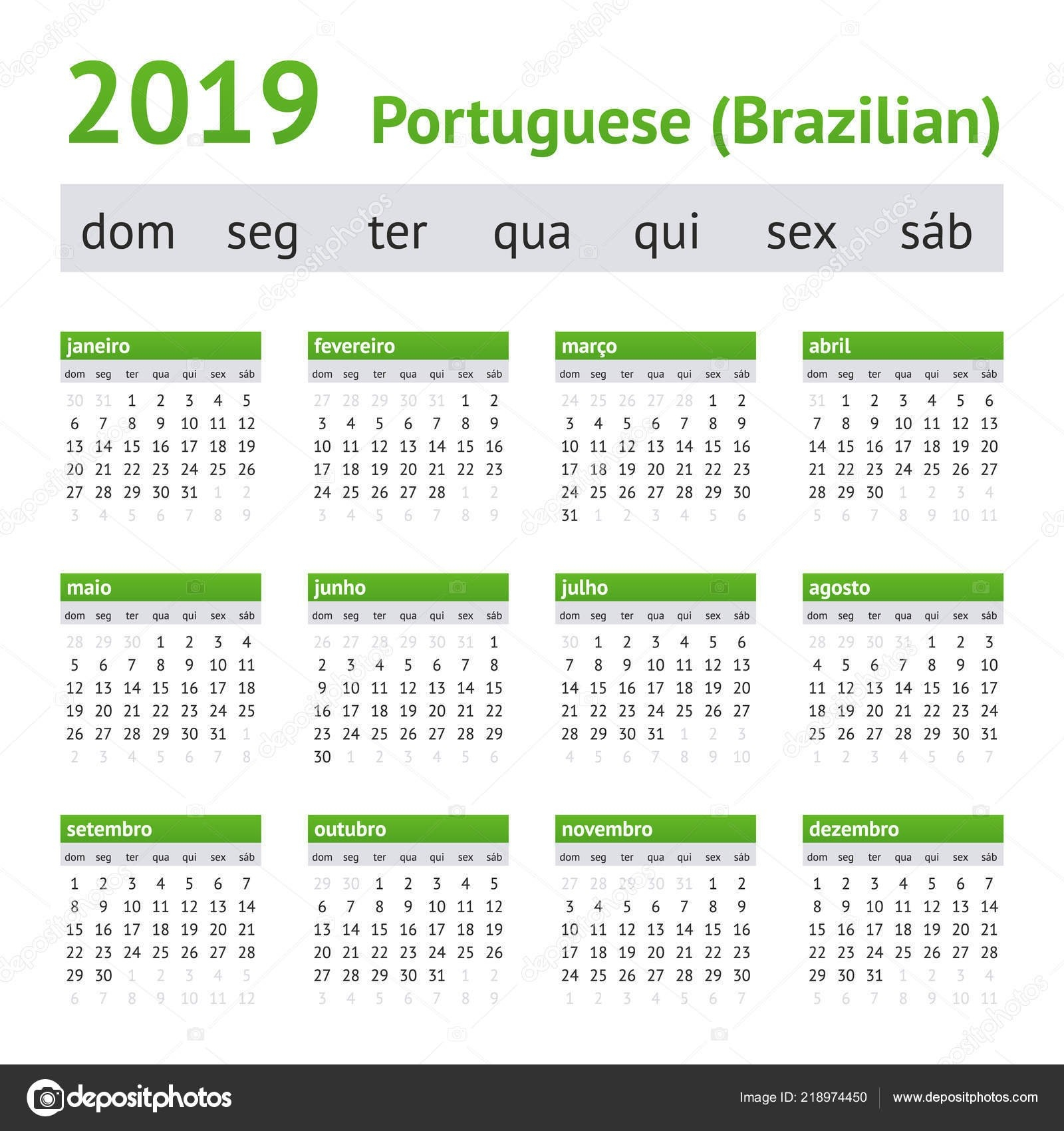 2019 Portuguese American Calendar — Stock Vector © New-Year #218974450 Calendar 2019 America