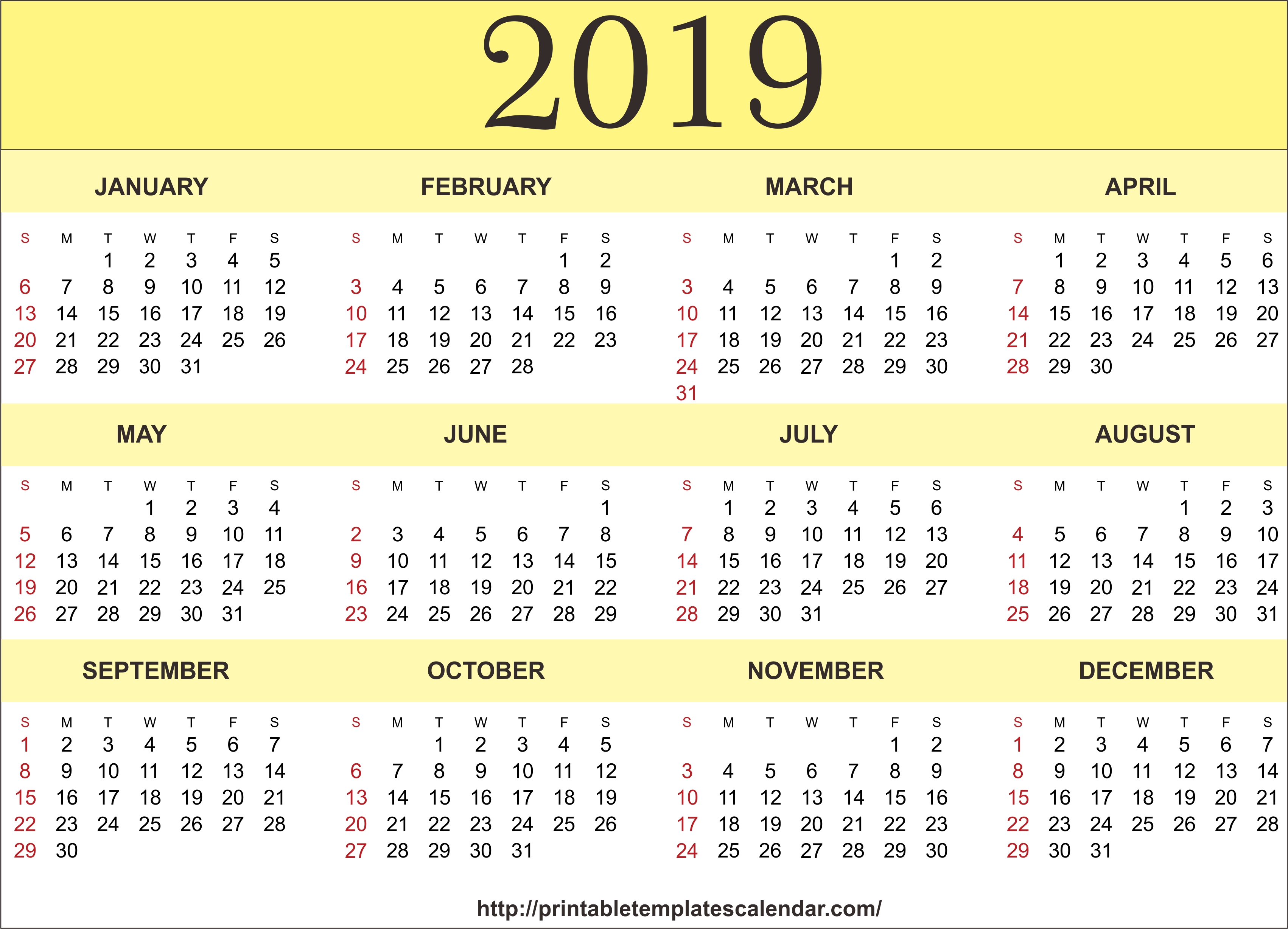 2019 Printable 12 Month One Page Calendar Template Pdf Word Notes Calendar 2019 One Page