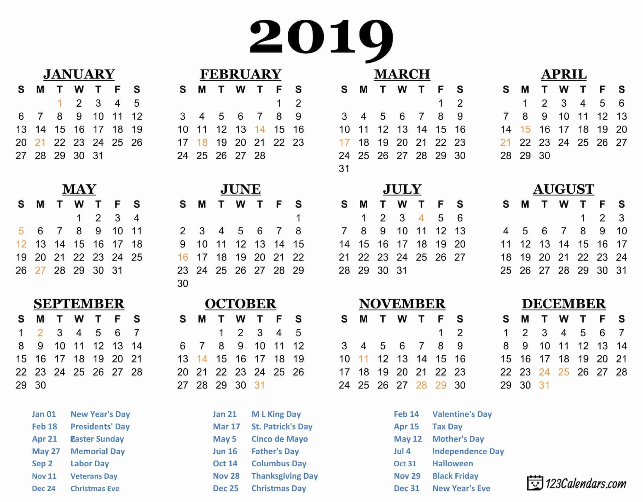 2019 Printable Calendar - 123Calendars Calendar 2019 For Print