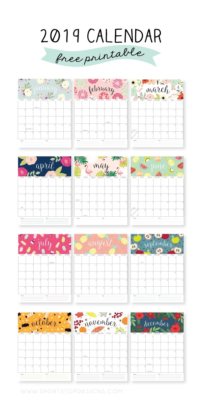 2019 Printable Calendar | Craft | Calendar, 2019 Calendar, Free Calendar 2019 Za Printanje