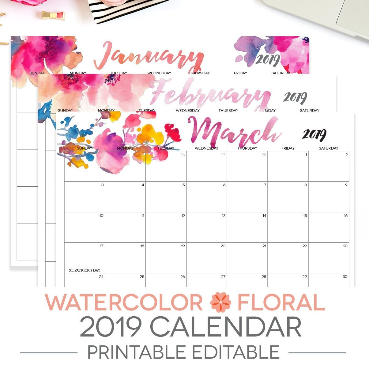 2019 Printable Calendar Editable 12 Month Letter Size | Etsy 2019 Calendar 8.5 X 11 Printable