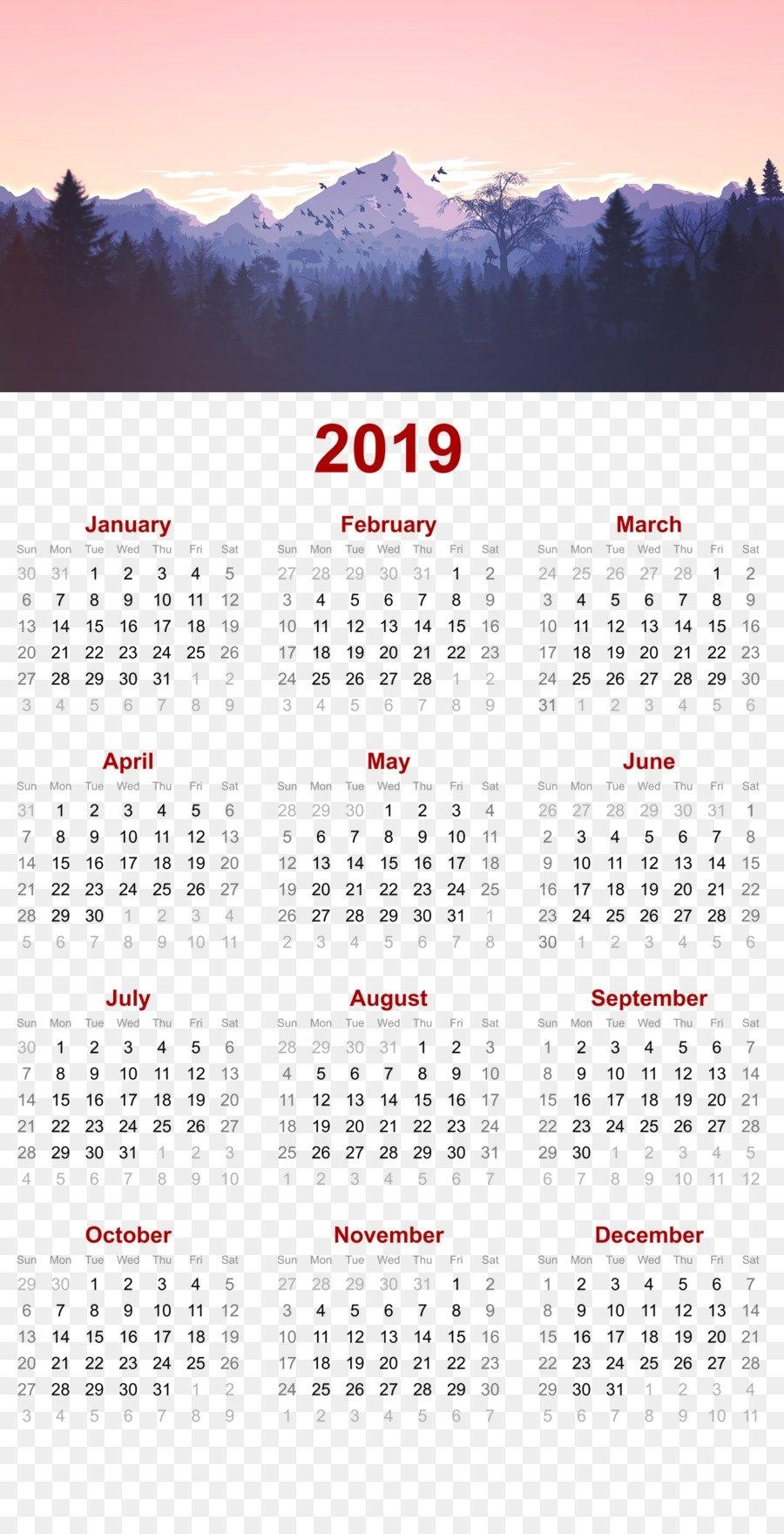 2019 Printable Calendar - Mountain Nature Design.p - Others Png P 2019 Calendar