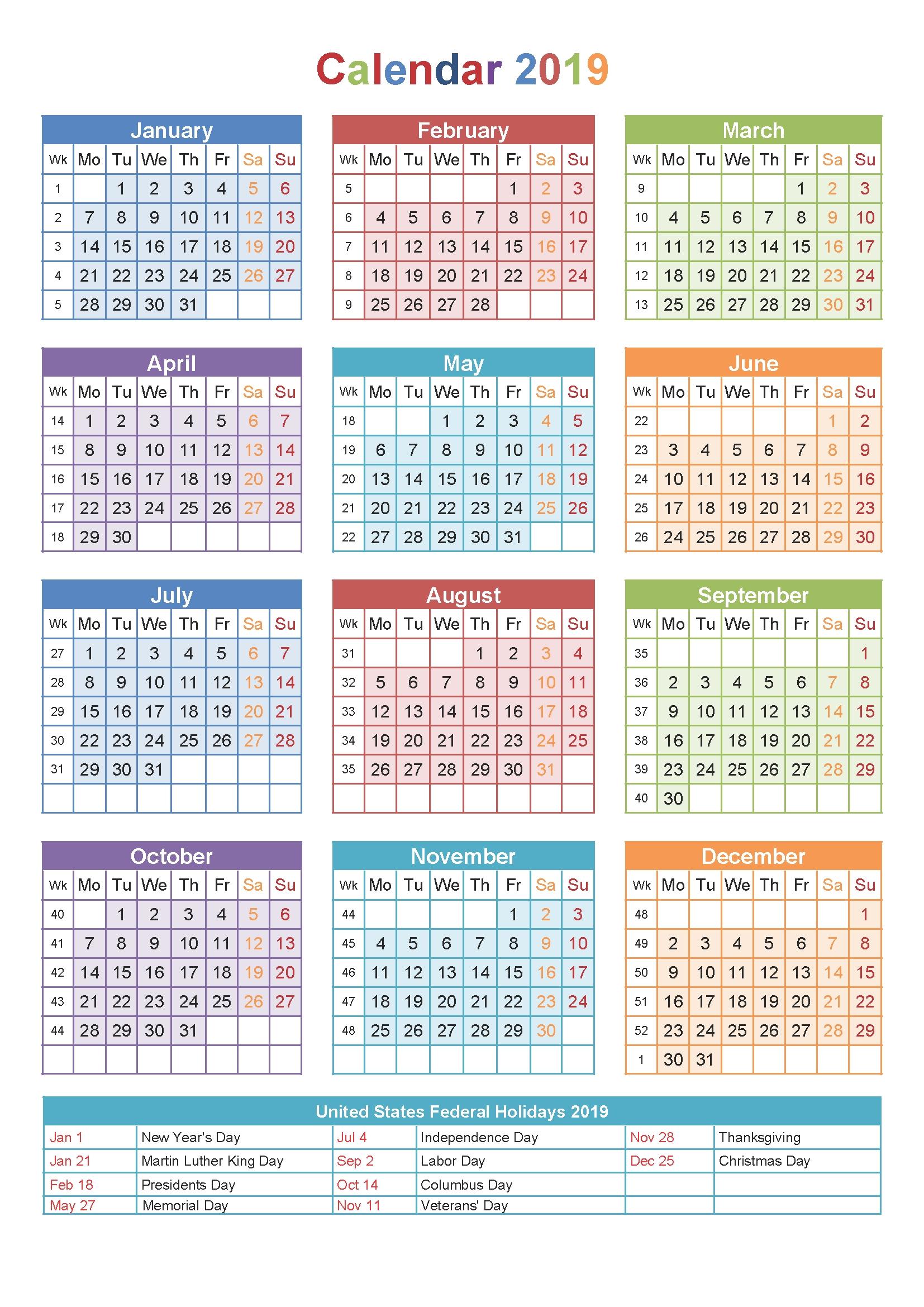 2019 Printable Calendar Templates - Blank Word Pdf - 2018 Calendar Calendar 2019 Small Printable