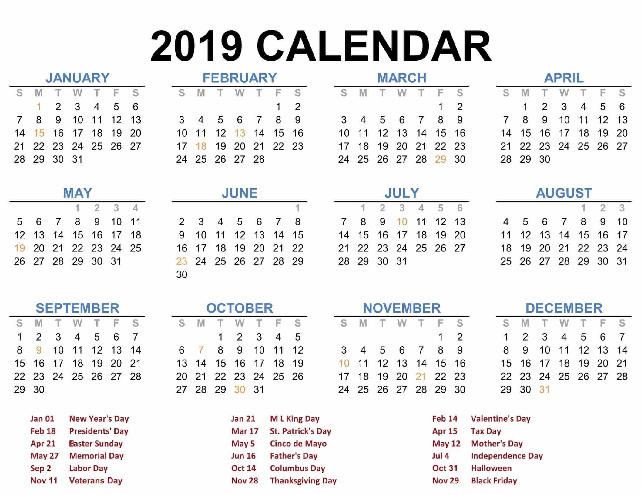 2019 Printable Calendar Templates - Pdf Excel Word - Free Printable Calendar 2019 Annual