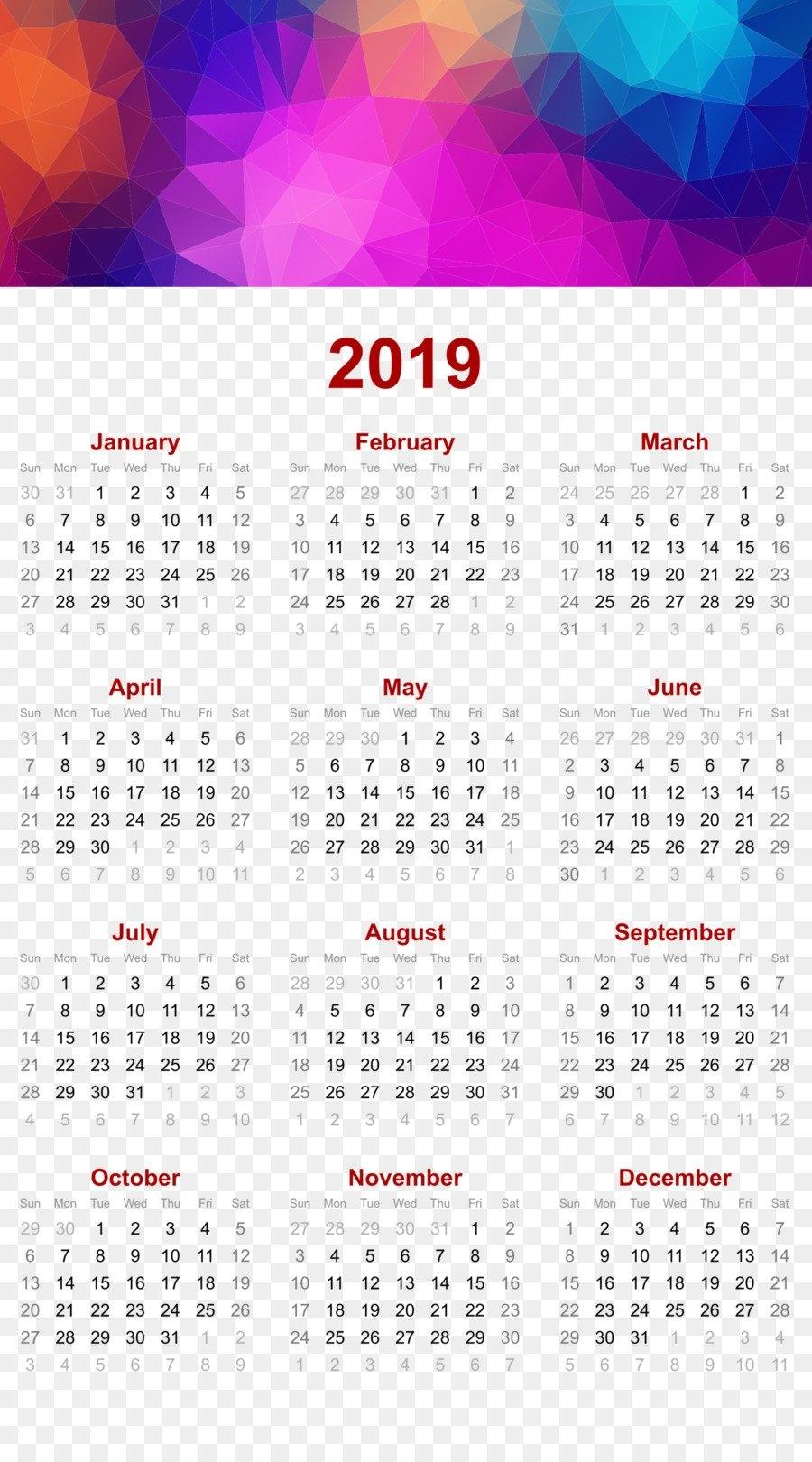 2019 Printable Calendar - Triangles Polygon Geomet - Others Png Calendar 2019 Vishu
