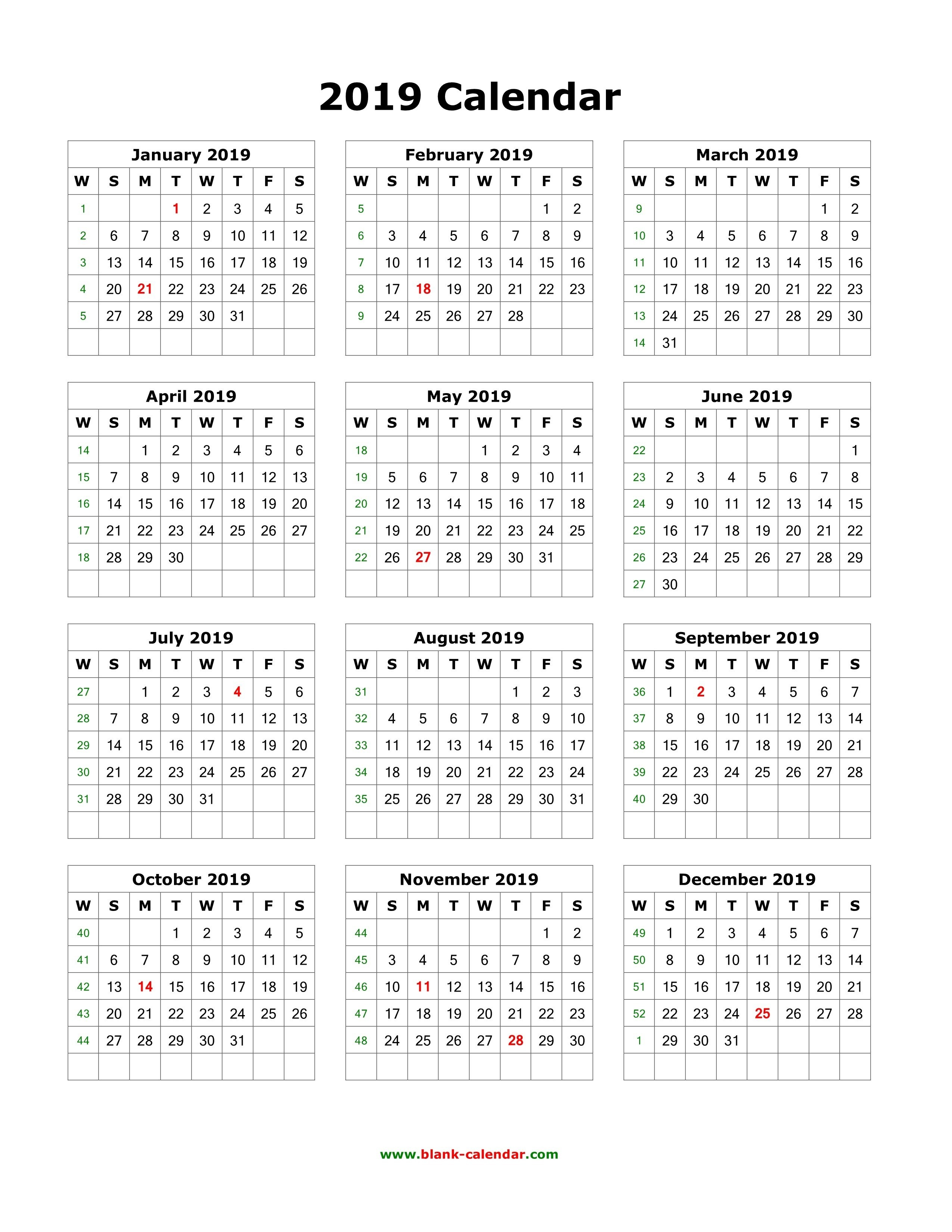 2019 Printable Calendar With Holidays One Page 12 Months Calendar Calendar 2019 Interactive