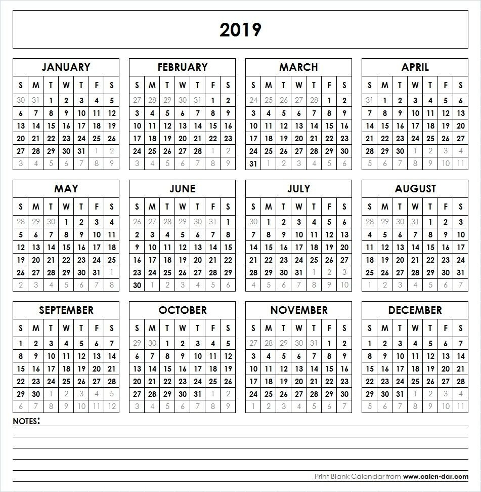 2019 Printable Calendar | Yearly Calendar | Pinterest | Calendar 1 Year Calendar 2019