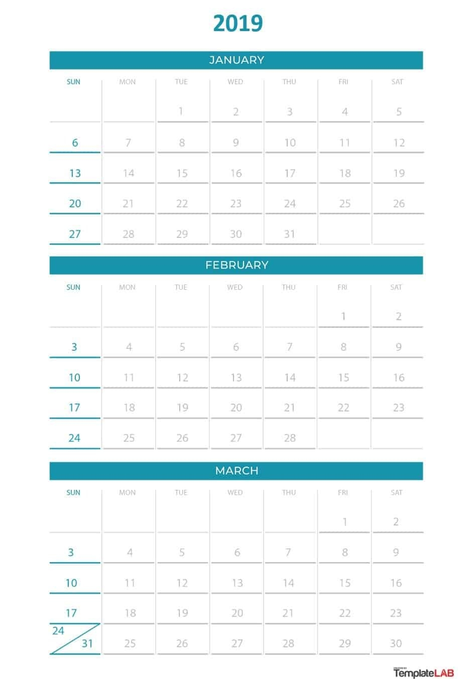 2019 Printable Calendars [Monthly, With Holidays, Yearly] - Template Lab Calendar 2019 Quarterly