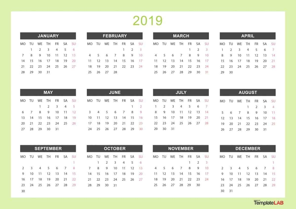 2019 Printable Calendars [Monthly, With Holidays, Yearly] - Template Lab Calendar 3/2019