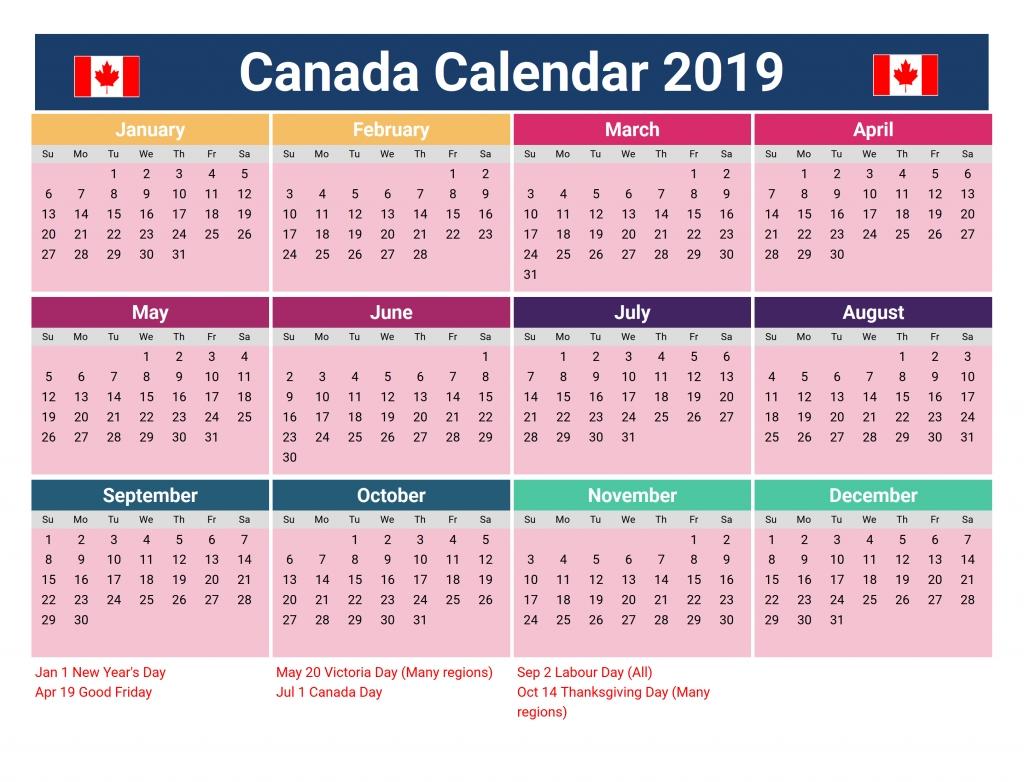 2019 Printable Yearly Blank Calendar Canada #canadacalendar Calendar Year 2019 Canada