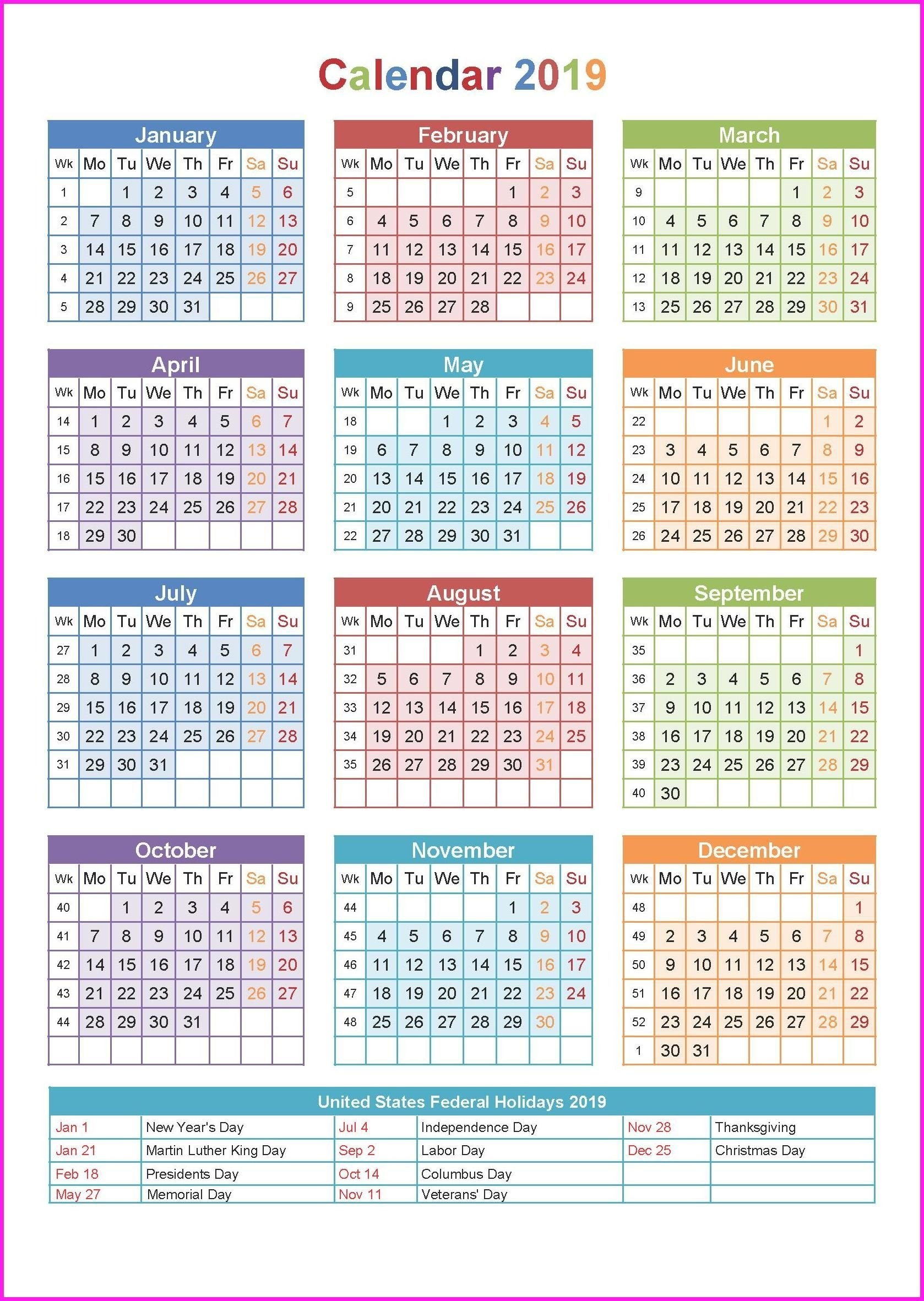 2019 Printable Yearly Calendar #calendar2019 #printablecalendar2019 Calendar Week 36 2019