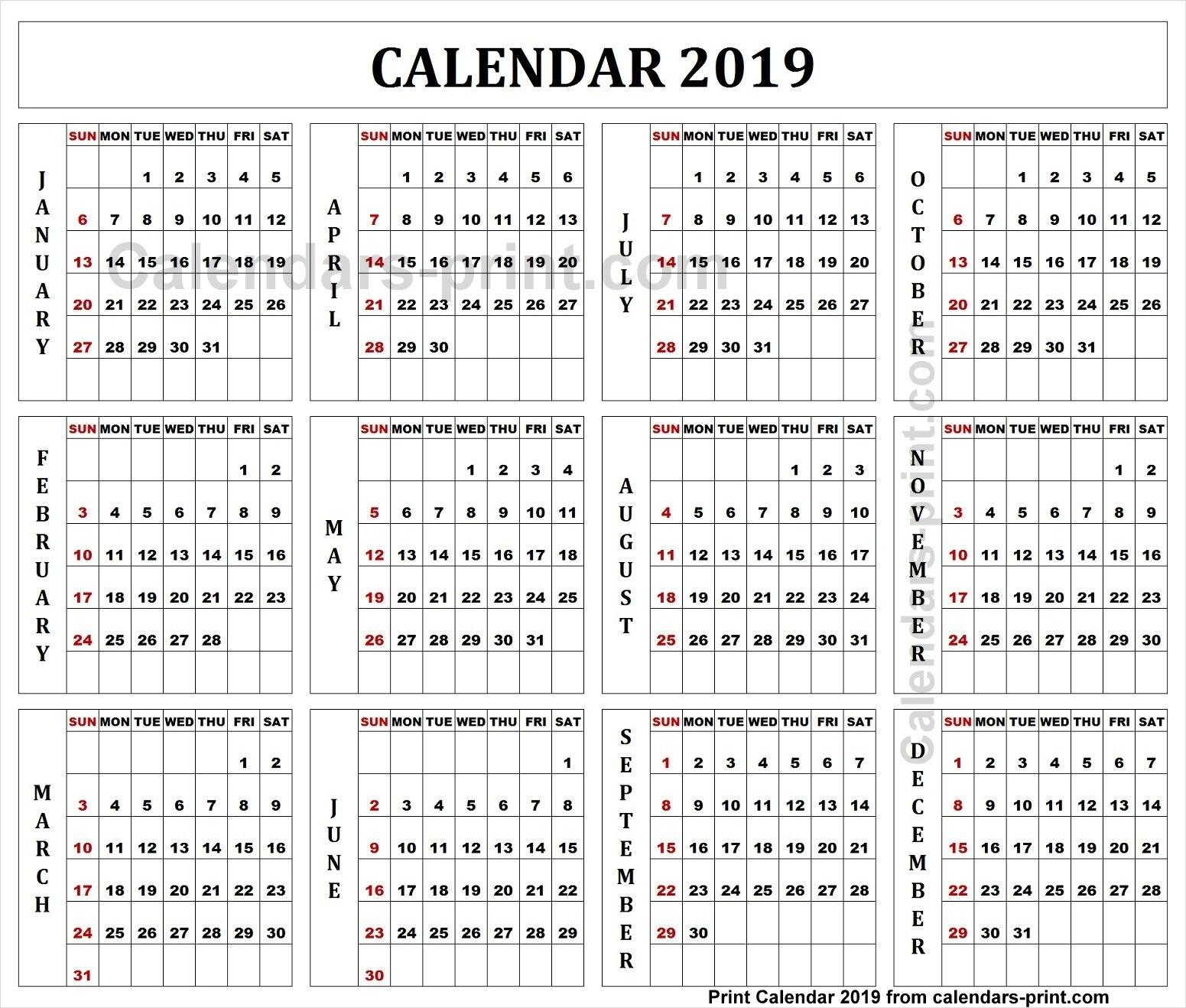 2019 Quarterly Calendar With Notes To Print Free   Blank Pdf Template Calendar 2019 Quarterly