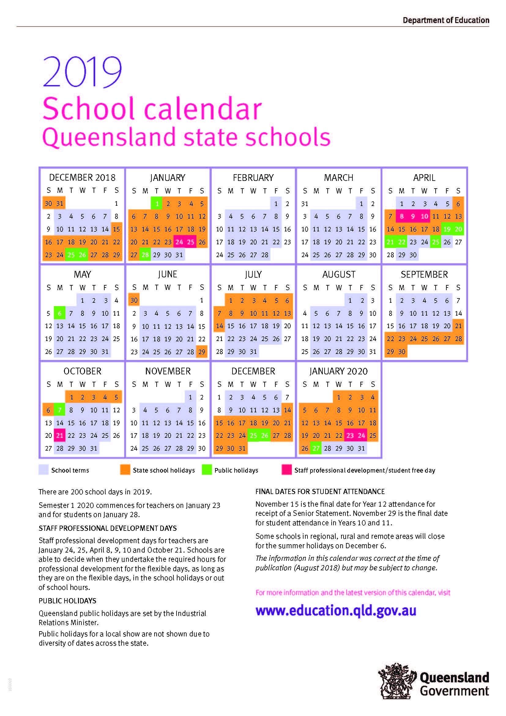 2019 Queensland State School Calendar Calendar 2019 Qld