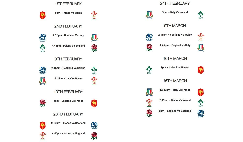 2019 Six Nations 6 Nations Calendar 2019