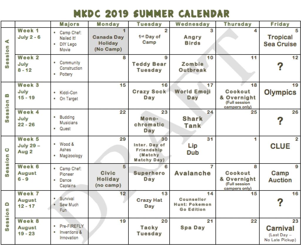 2019 Summer Calendar - Maple Key Day Camp Calendar 2019 Summer