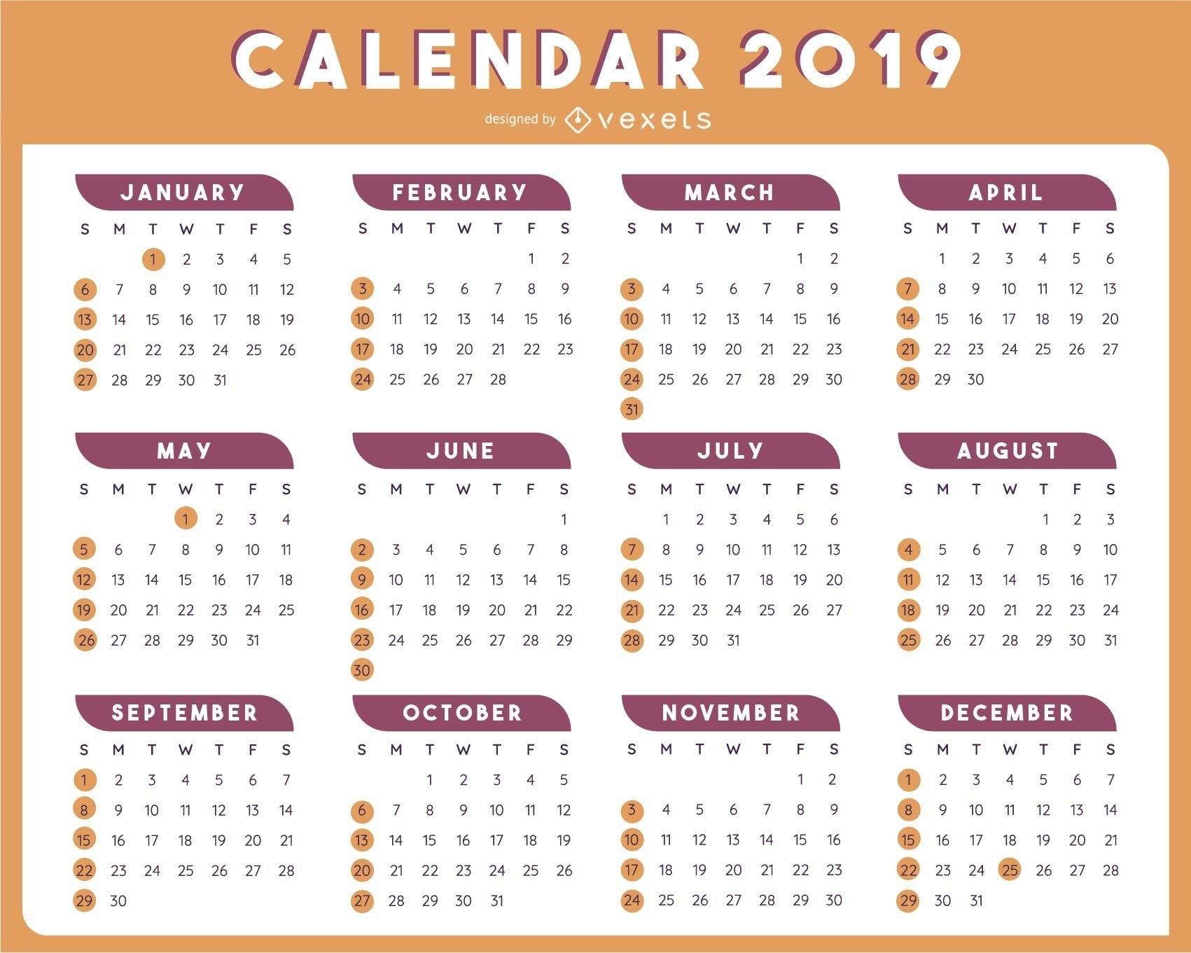 2019 Table Calendar Template Vector Design - Vector Download Calendar 2019 Vector File