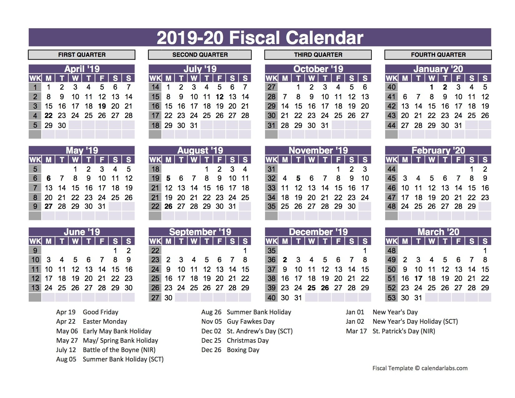 2019 Template Fiscal Year 4–4–5 Calendar | Www.picsbud 4-4-5 Calendar 2019