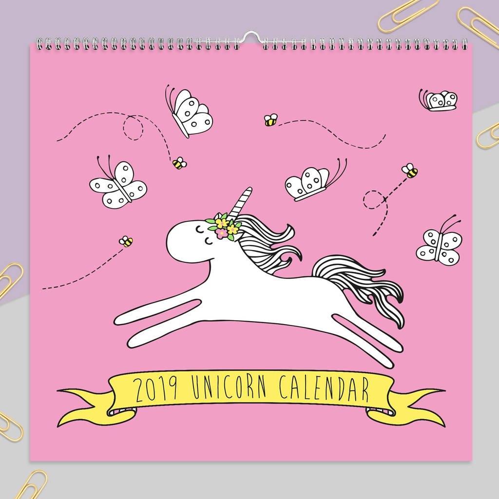 2019 Unicorn Calendarneon Magpie | Notonthehighstreet Calendar 2019 Unicorn
