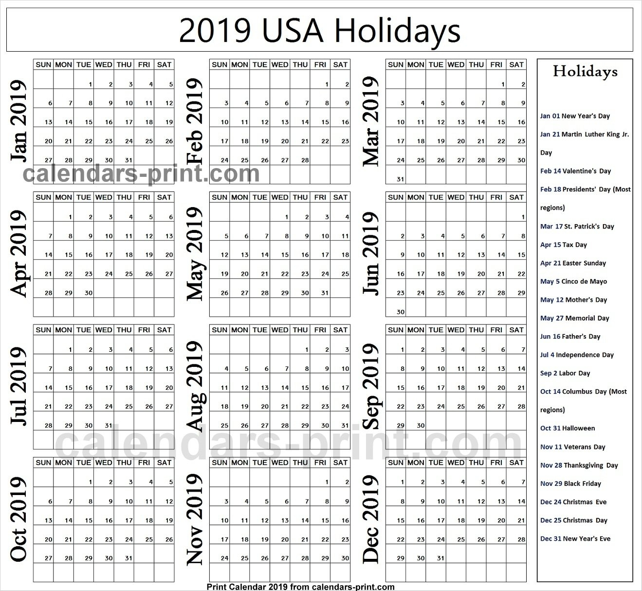 2019 Us Calendar With Federal Holidays | 2019 Usa Calendar Calendar 2019 With Us Holidays