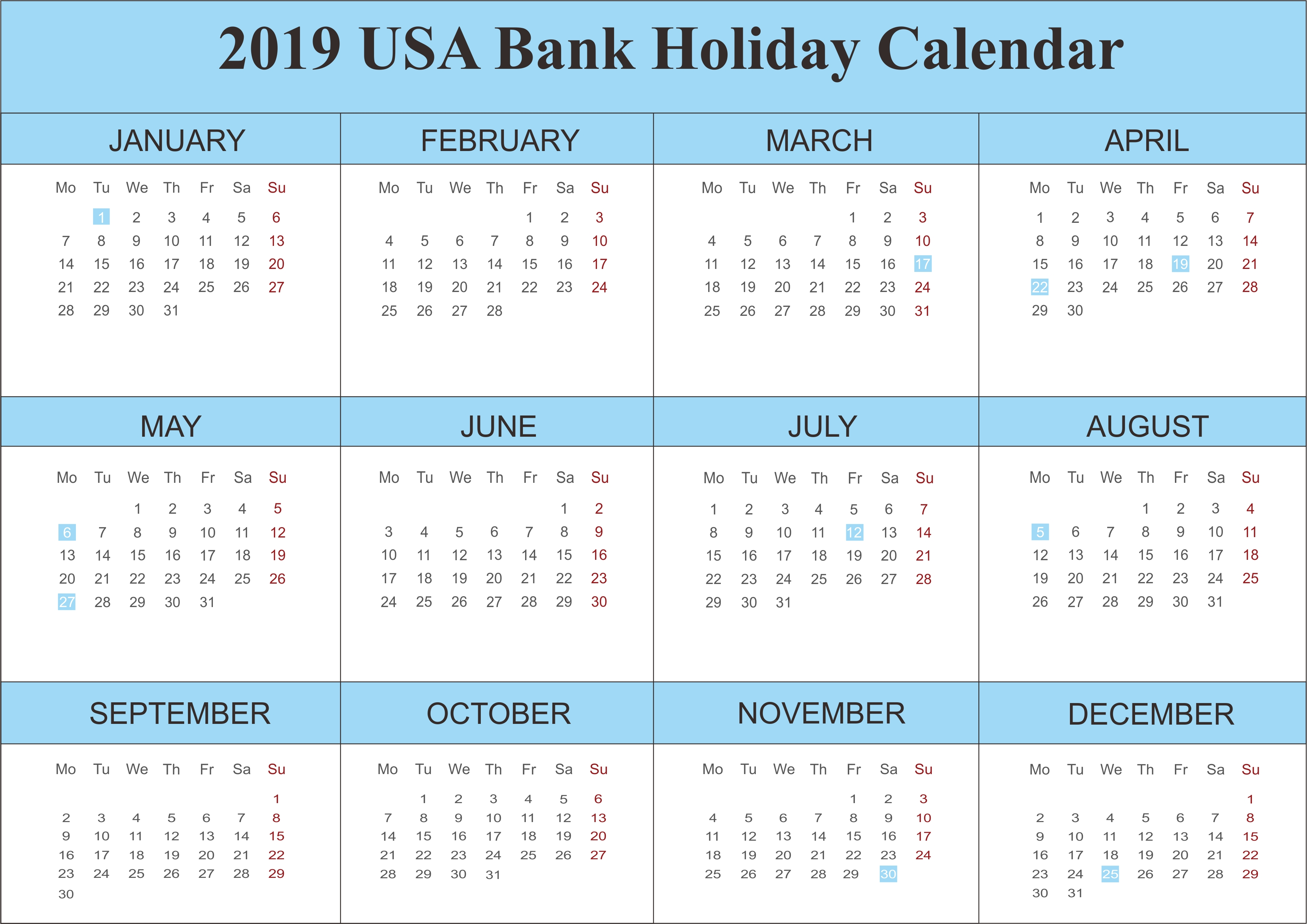 2019 Usa Bank Holidays Calendar | 250+ Free Monthly Calendar Calendar 2019 Bank Holidays
