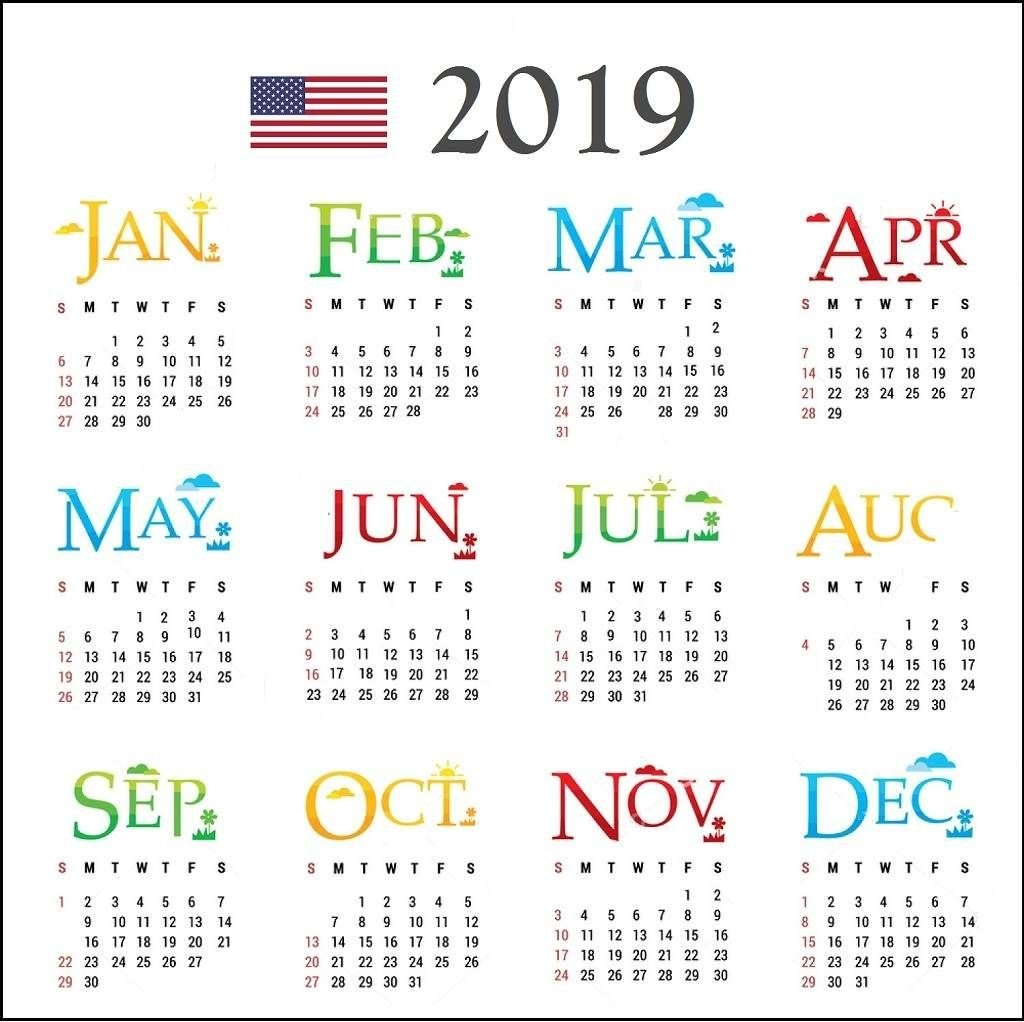 2019 Usa Calendar With Holidays. | Calendar 2019 | Pinterest E One 2019 Calendar