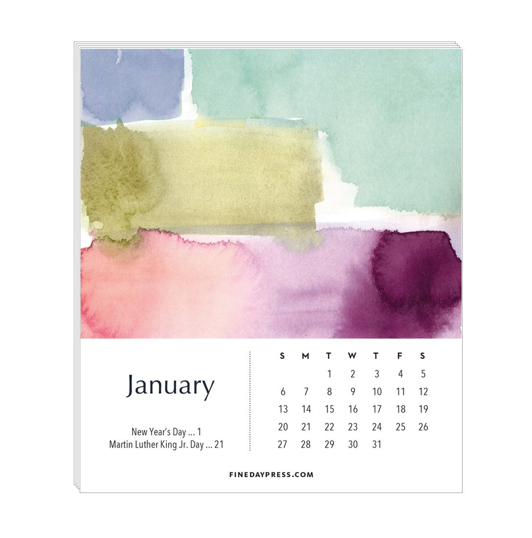 2019 Watercolor Desk Calendar - Refill Pages / No Case - Fine Day Press Calendar 2019 Refill