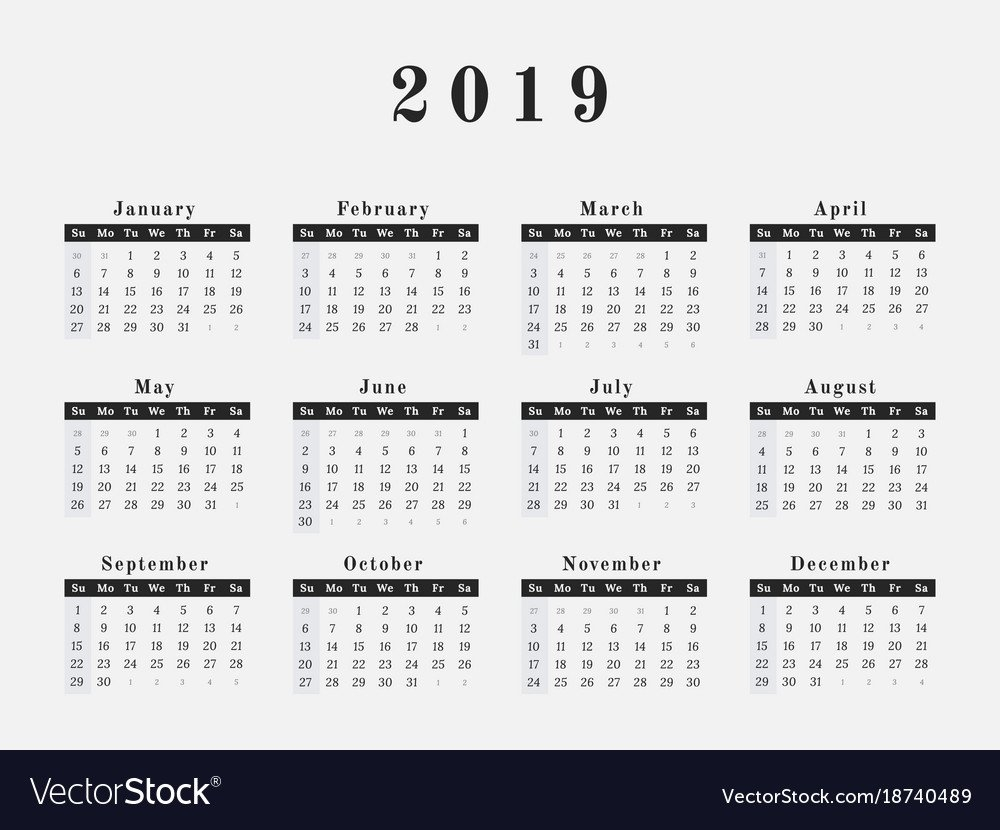 2019 Year Calendar Horizontal Design Royalty Free Vector $1 Calendar 2019