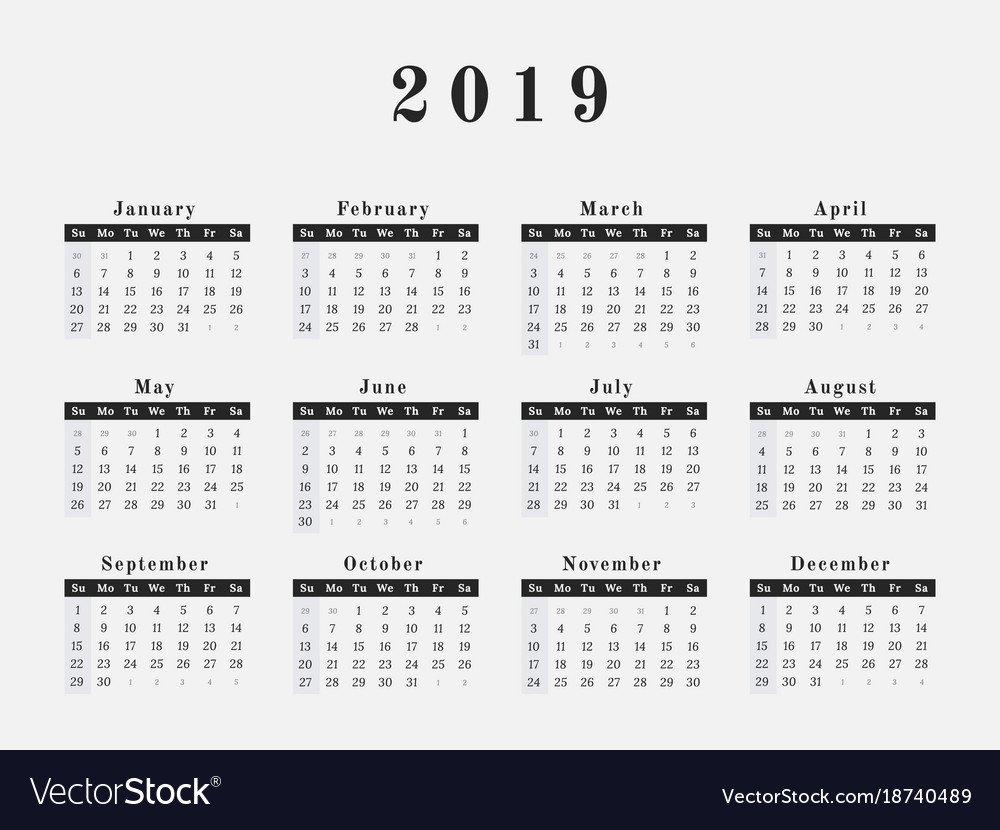 2019 Year Calendar Horizontal Design Royalty Free Vector Calendar 2019 Illustrator