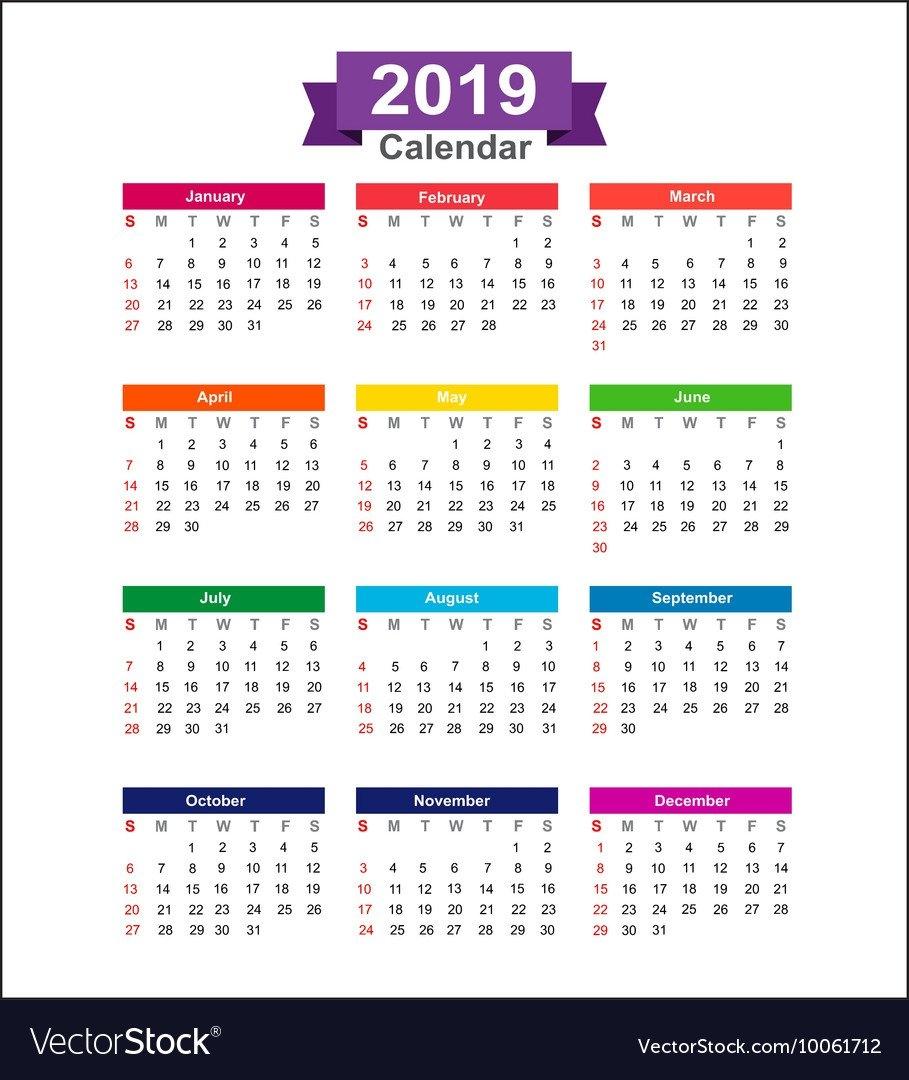 2019 Year Calendar Isolated On White Background Vector Image Calendar 2019 Photo